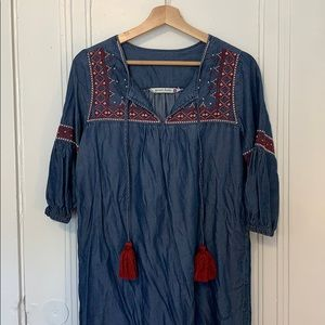 Given Kale Embroidered Chambray Dress